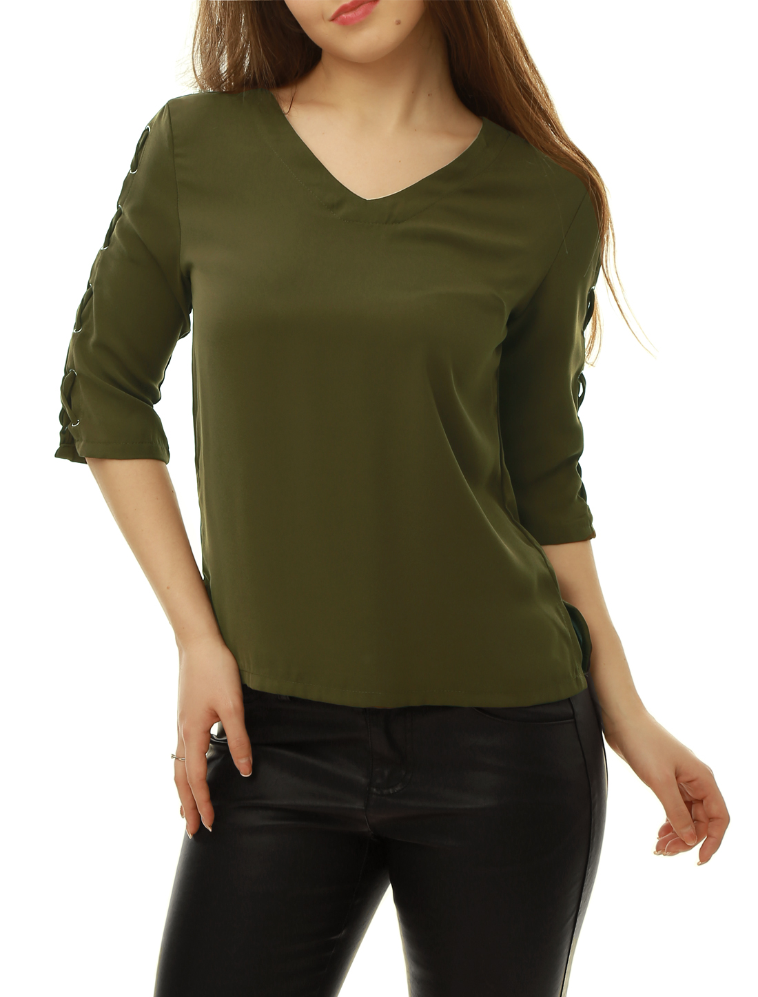 Women Three Quarter Lace Up Sleeves V Neck Side-Slit Top Green XS