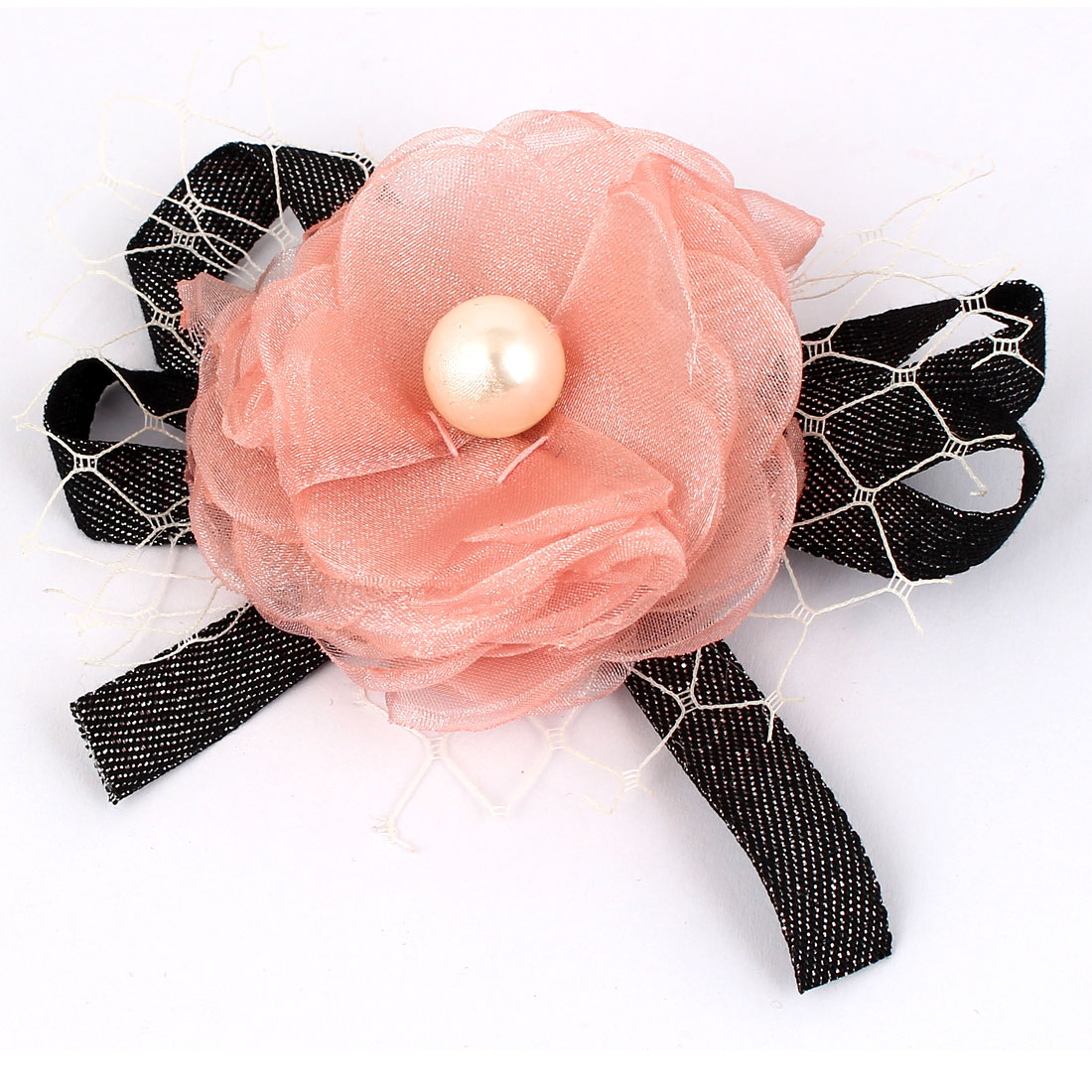 Party Imitation Pearl Chiffon Flower Lace Ribbon Decor Corsage Brooch Pin Black Pink