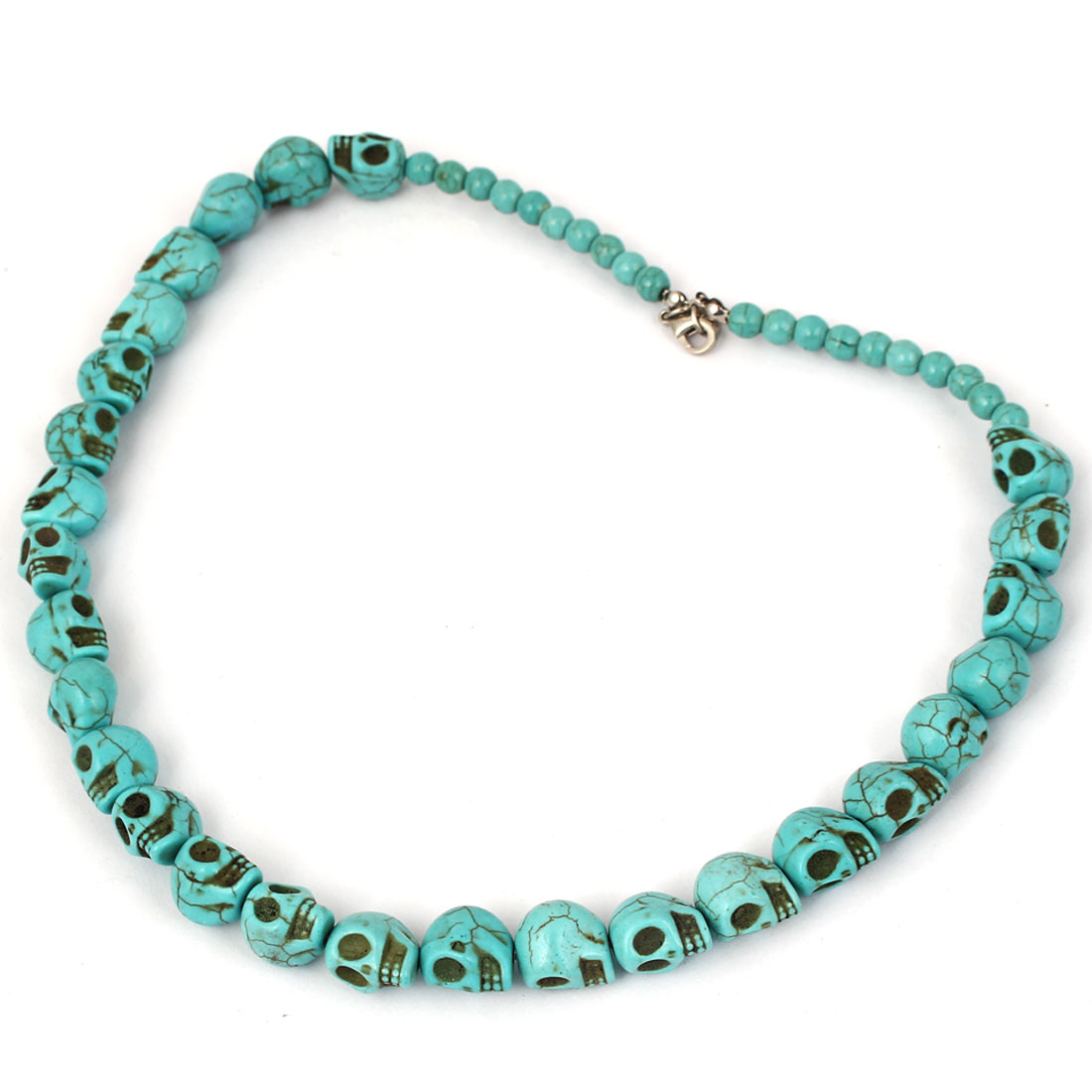 Lady Fashion Jewelry Lobster Clasp Skull Shape Beads Turquoise Necklace Blue