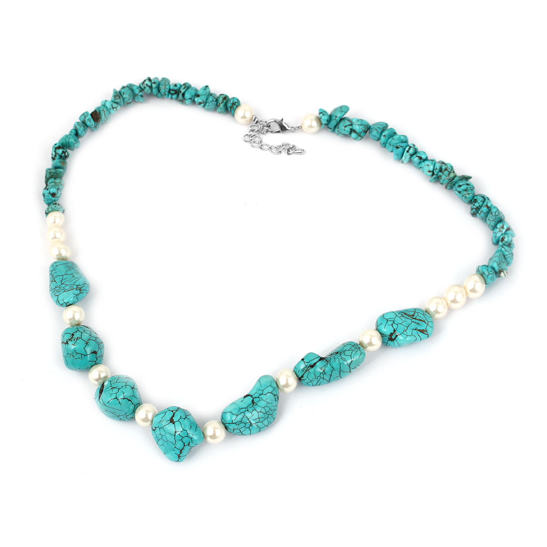 Lady Fashion Jewelry Lobster Clasp Faux Imitation Pearl Beads Turquoise Necklace Blue