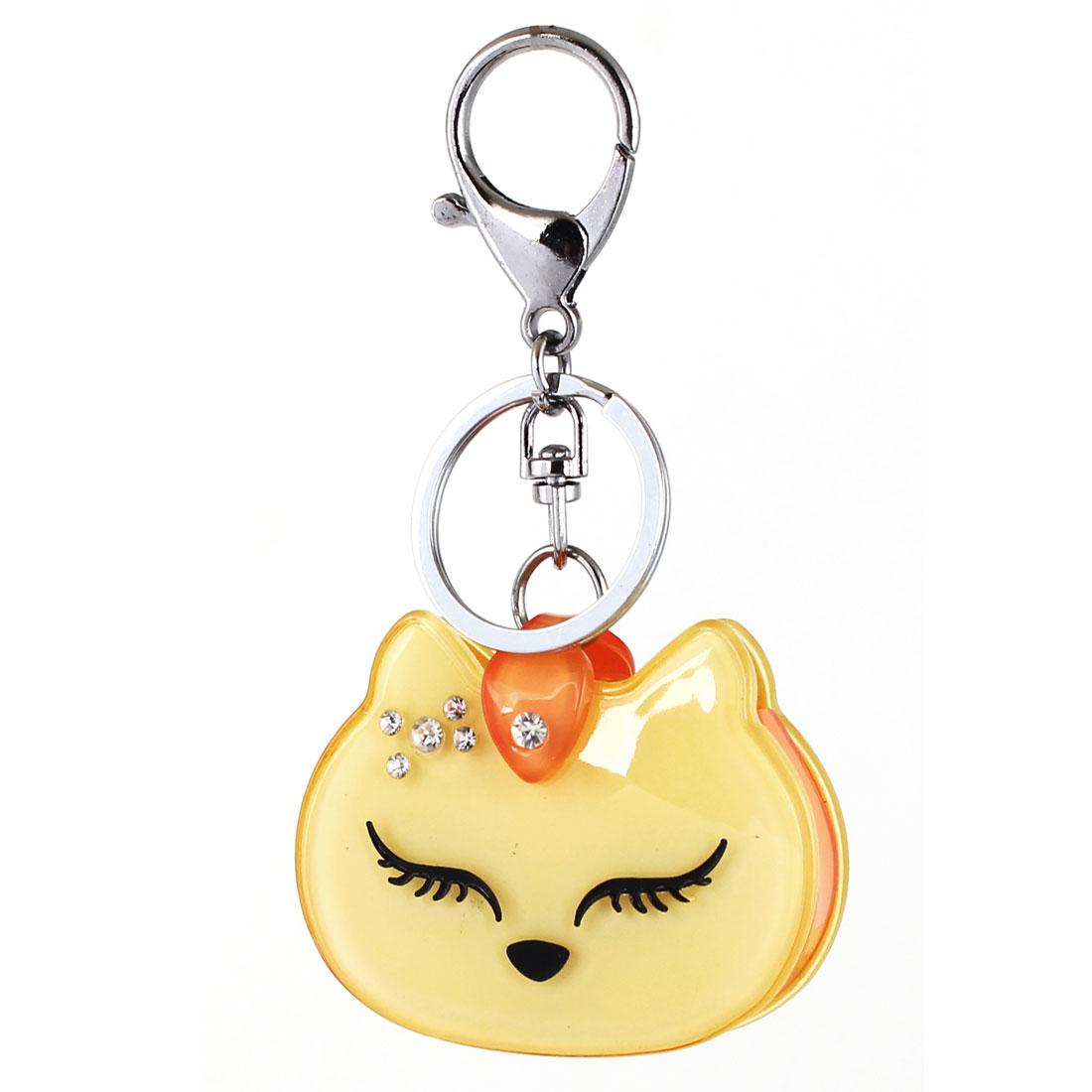 Bag Charm Gift Cartoon Cat Pendant Lobster Clasp Keyring Key Chain Yellow Orange