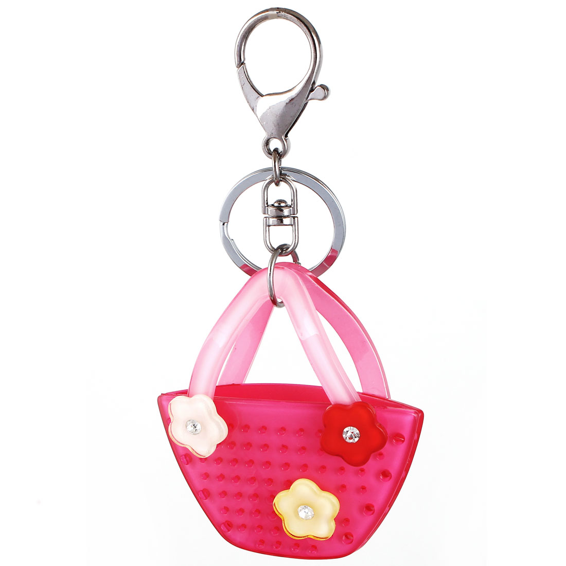 Bag Charm Gift Flowers Handbag Pendant Lobster Clasp Keyring Key Chain Fuchsia