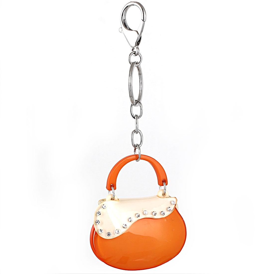 Bag Charm Gift Crystal Handbag Pendant Lobster Clasp Keyring Key Chain Orange