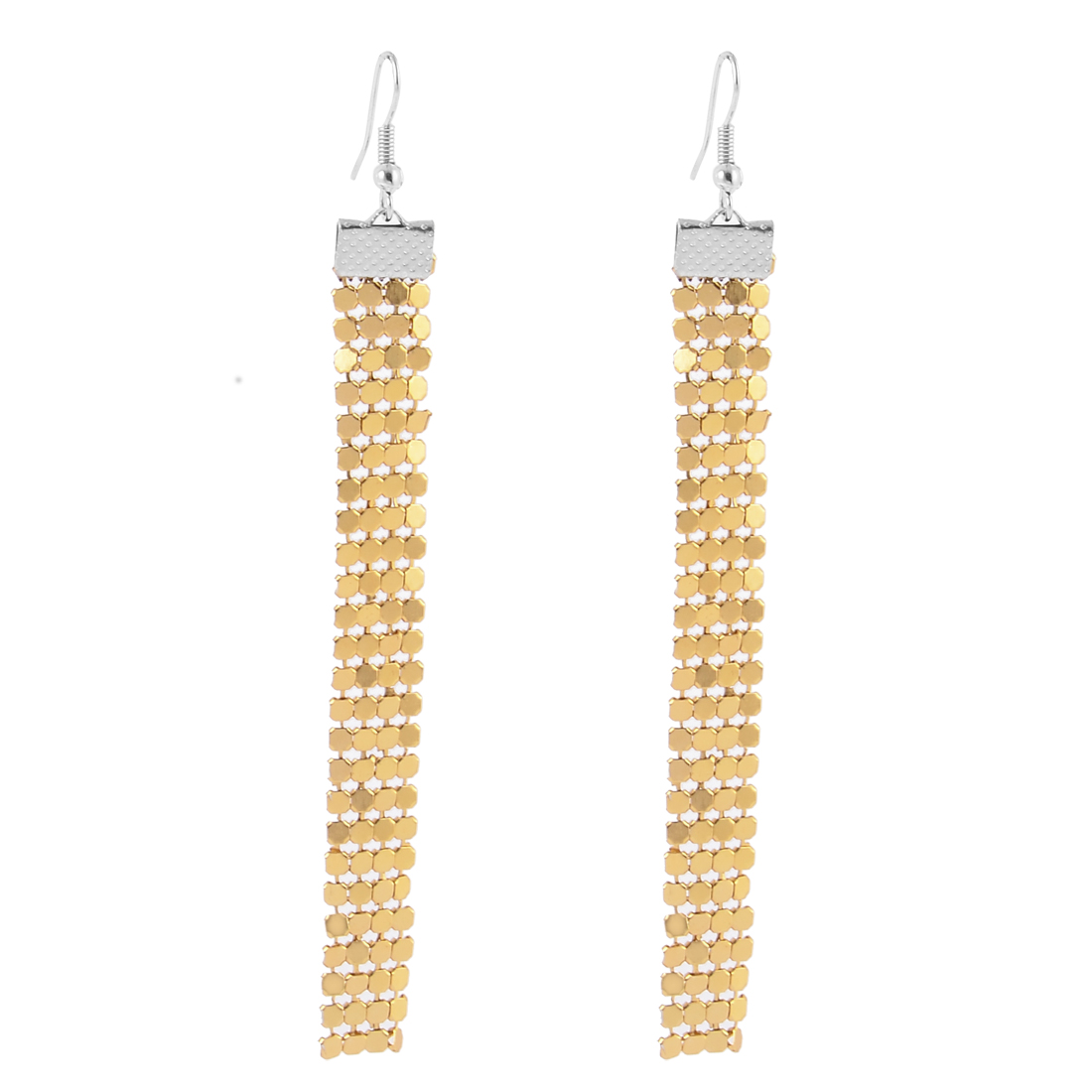 Lady Fashion Jewelry Long Shiny Sequin Cluster Dangle Earrings Pair Gold Tone