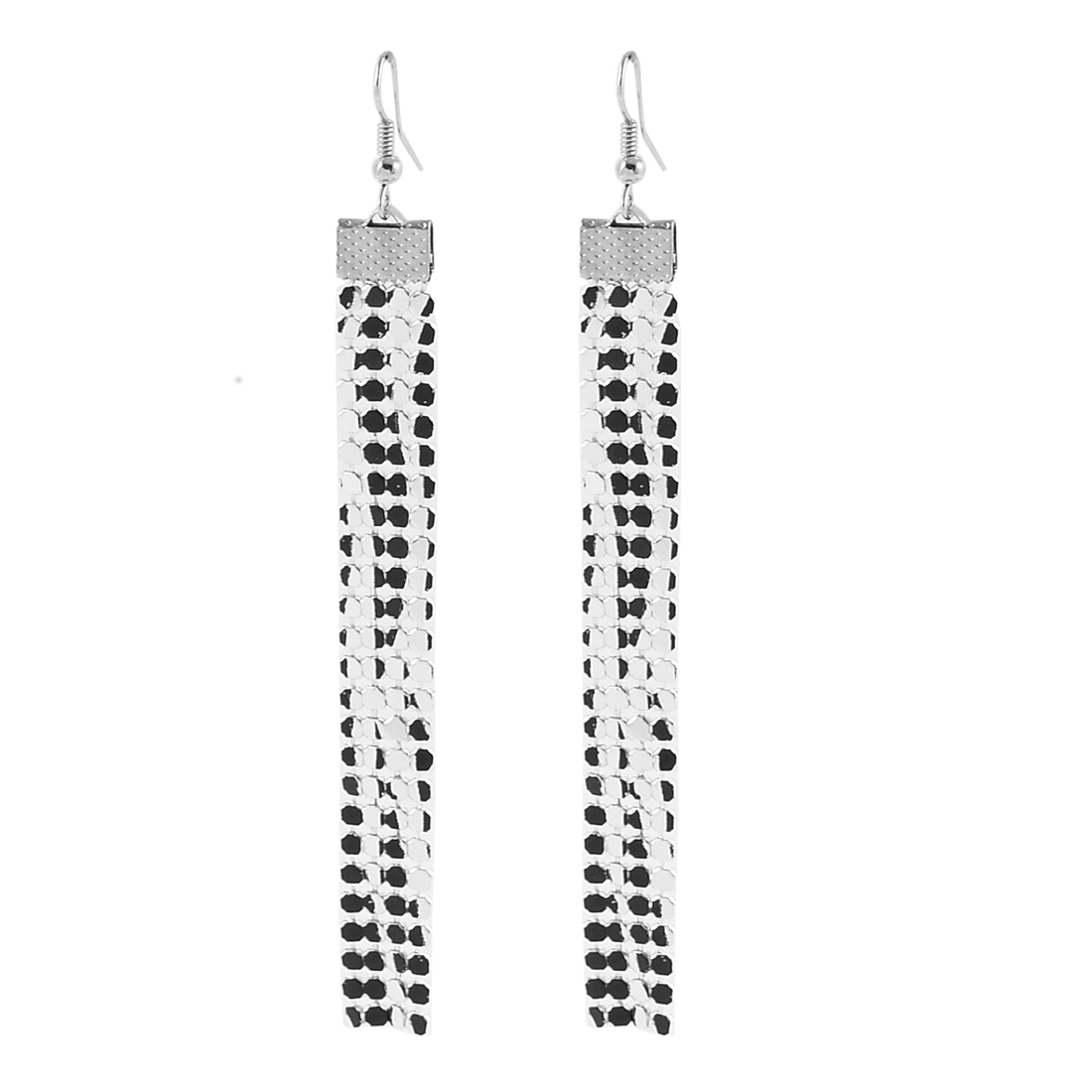 Fashion Jewelry Long Shiny Sequin Cluster Dangle Earrings Pair Black Silver Tone