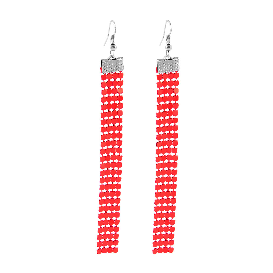 Lady Women Fashion Jewelry Long Shiny Sequin Cluster Dangle Earrings Pair Red