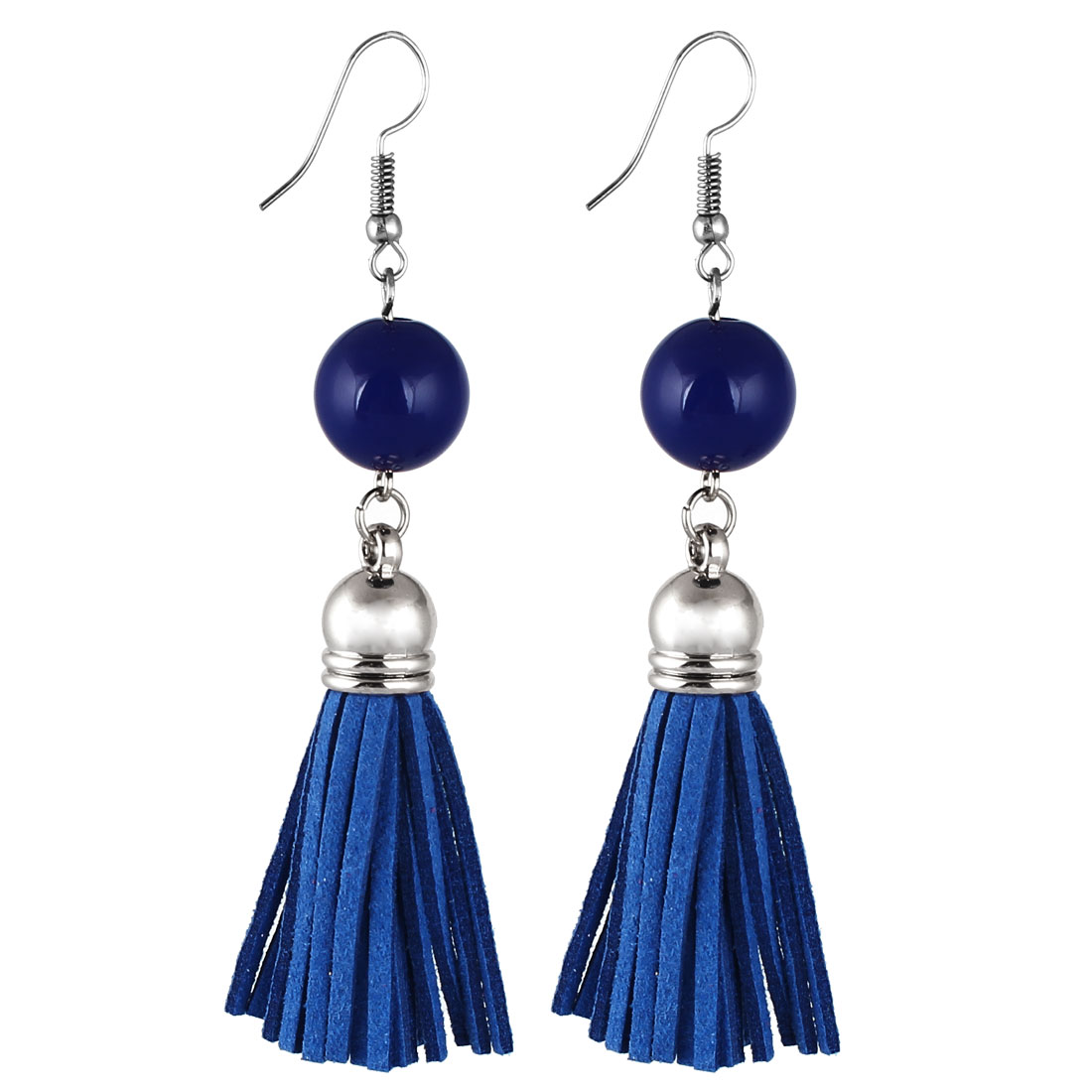 Lady Women Fashion Jewelry Bead Decor Long Tassel Dangle Earrings Pair Blue