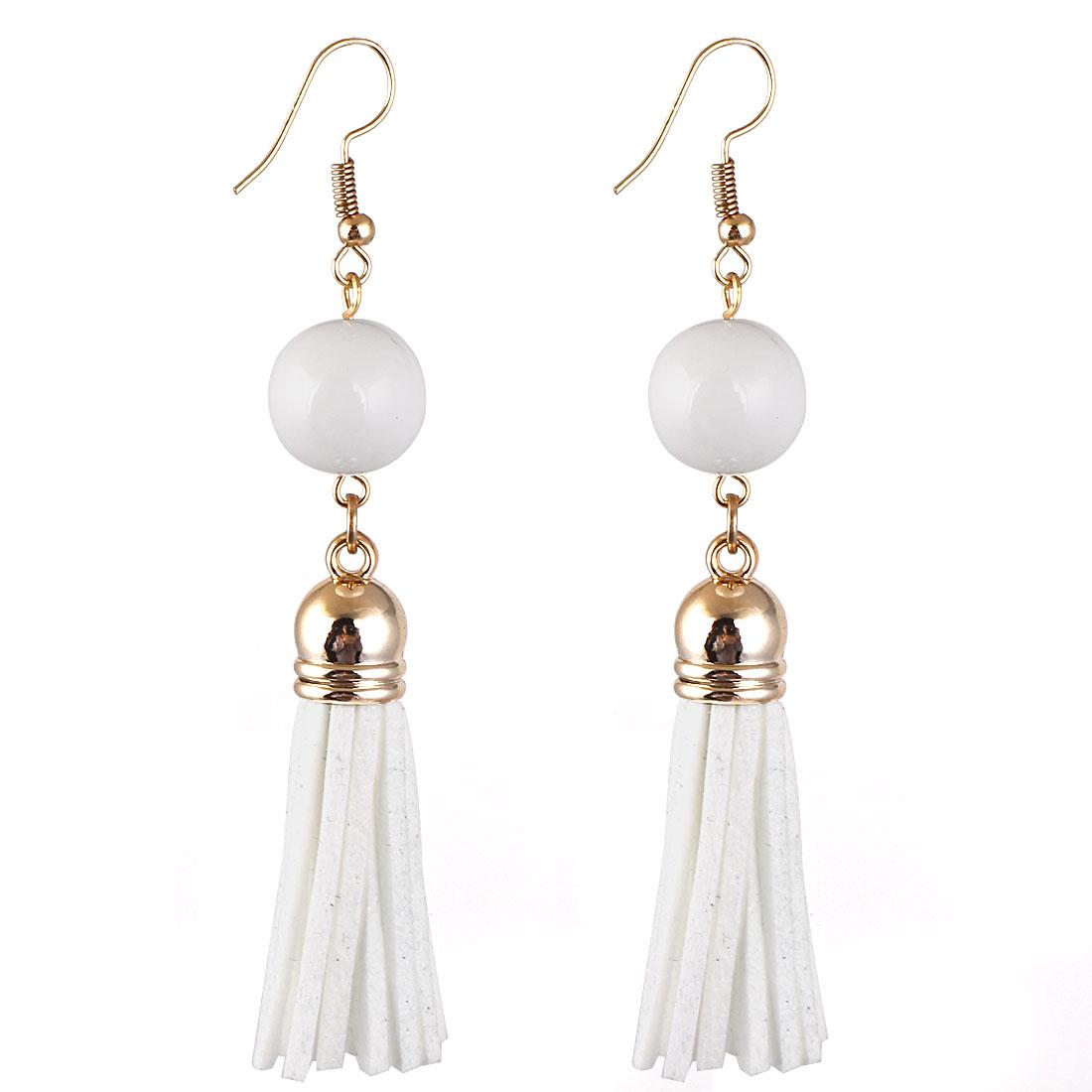 Lady Women Fashion Jewelry Bead Decor Long Tassel Dangle Earrings Pair White