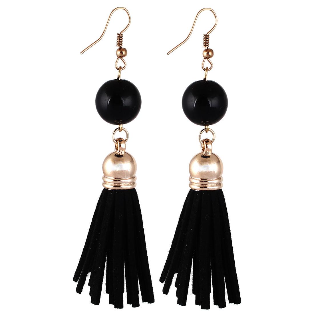 Lady Women Fashion Jewelry Bead Decor Long Tassel Dangle Earrings Pair Black