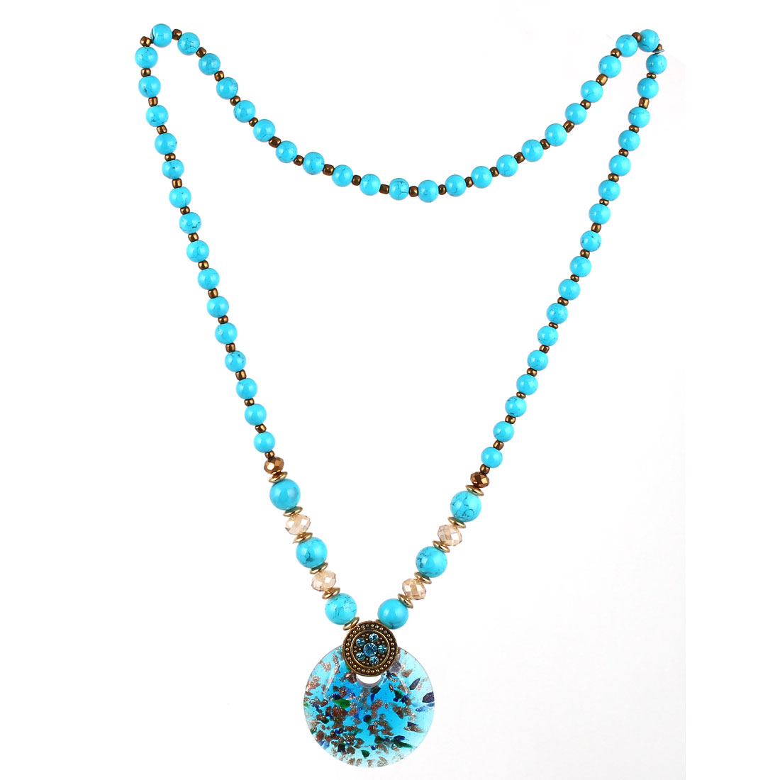 Lady Fashion Jewelry Vintage Style Pendant Crystal Stone Beads Necklace Blue