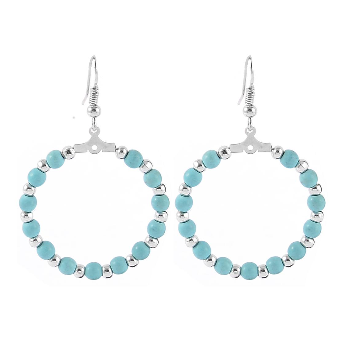 Lady Women Fashion Jewelry Circle Beads Dangle Earrings Pair Silver Tone Blue