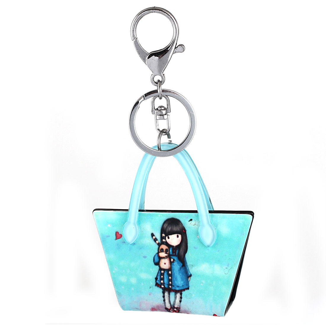 Bag Charm Gift Cartoon Handbag Pendant Lobster Clasp Keyring Key Chain Blue