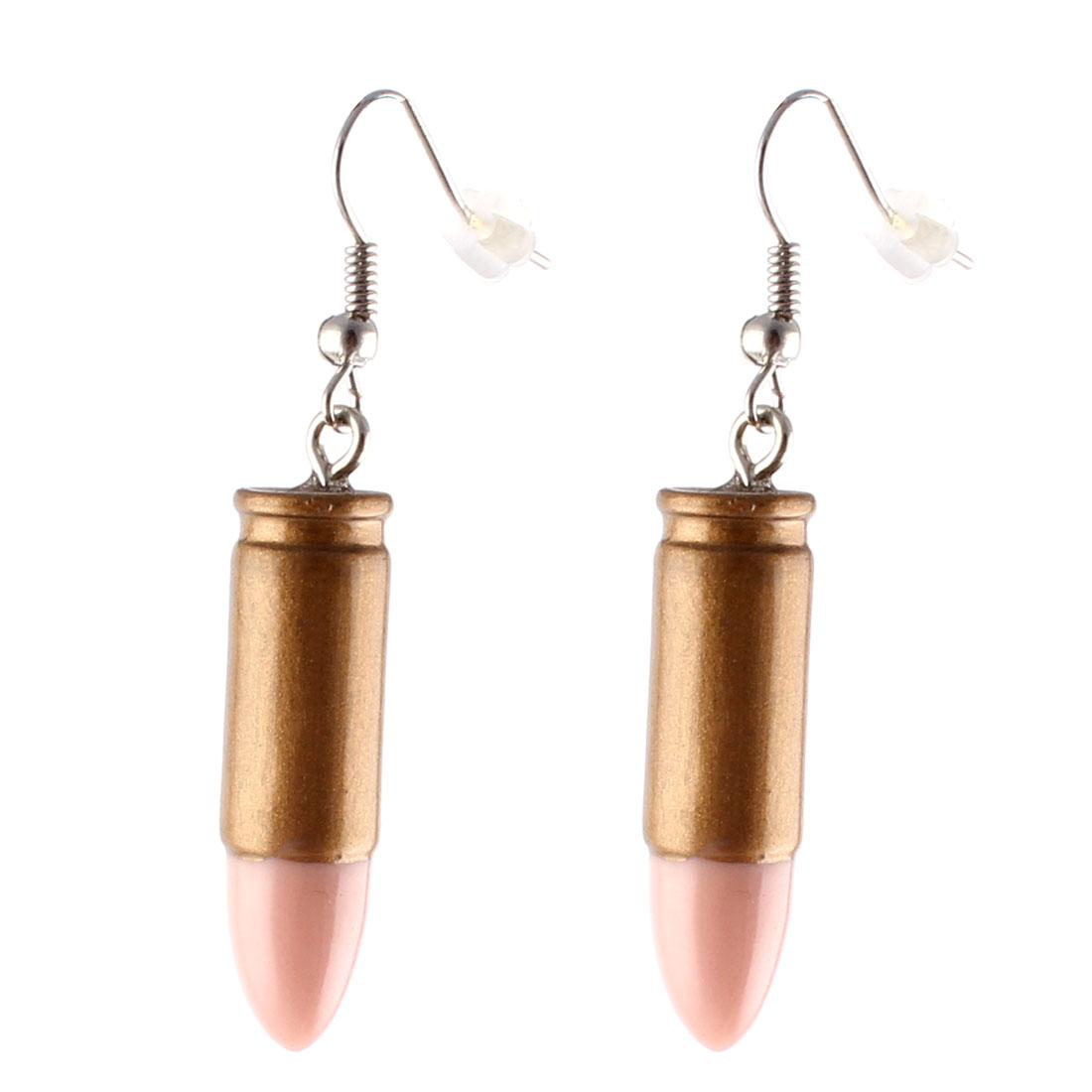 Pair Bronze Tone Plastic Pendant Dangling Fish Hook Ear Drops Earrings Eardrops