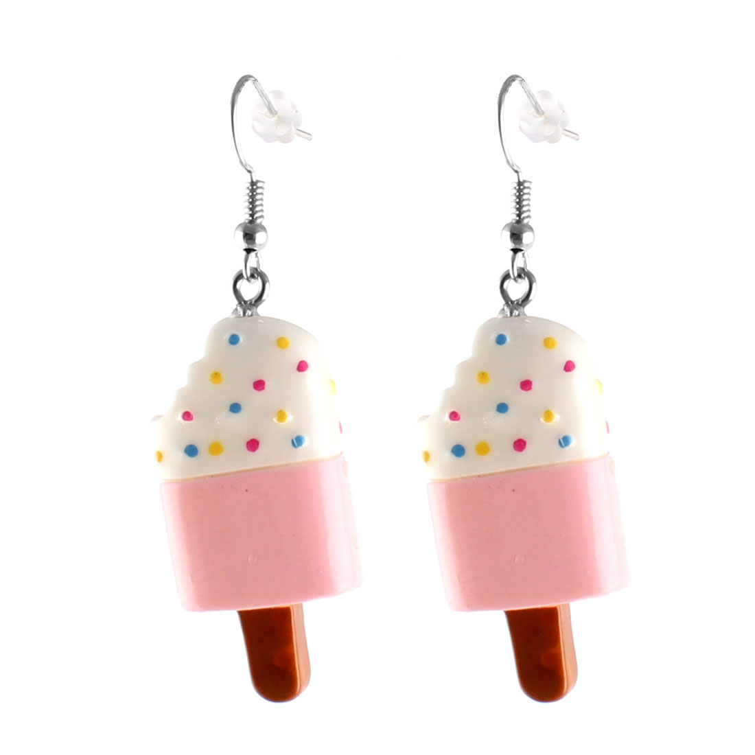 Pair Pink White Ice Cream Pendant Dangling Fish Hook Ear Drops Earrings Eardrops
