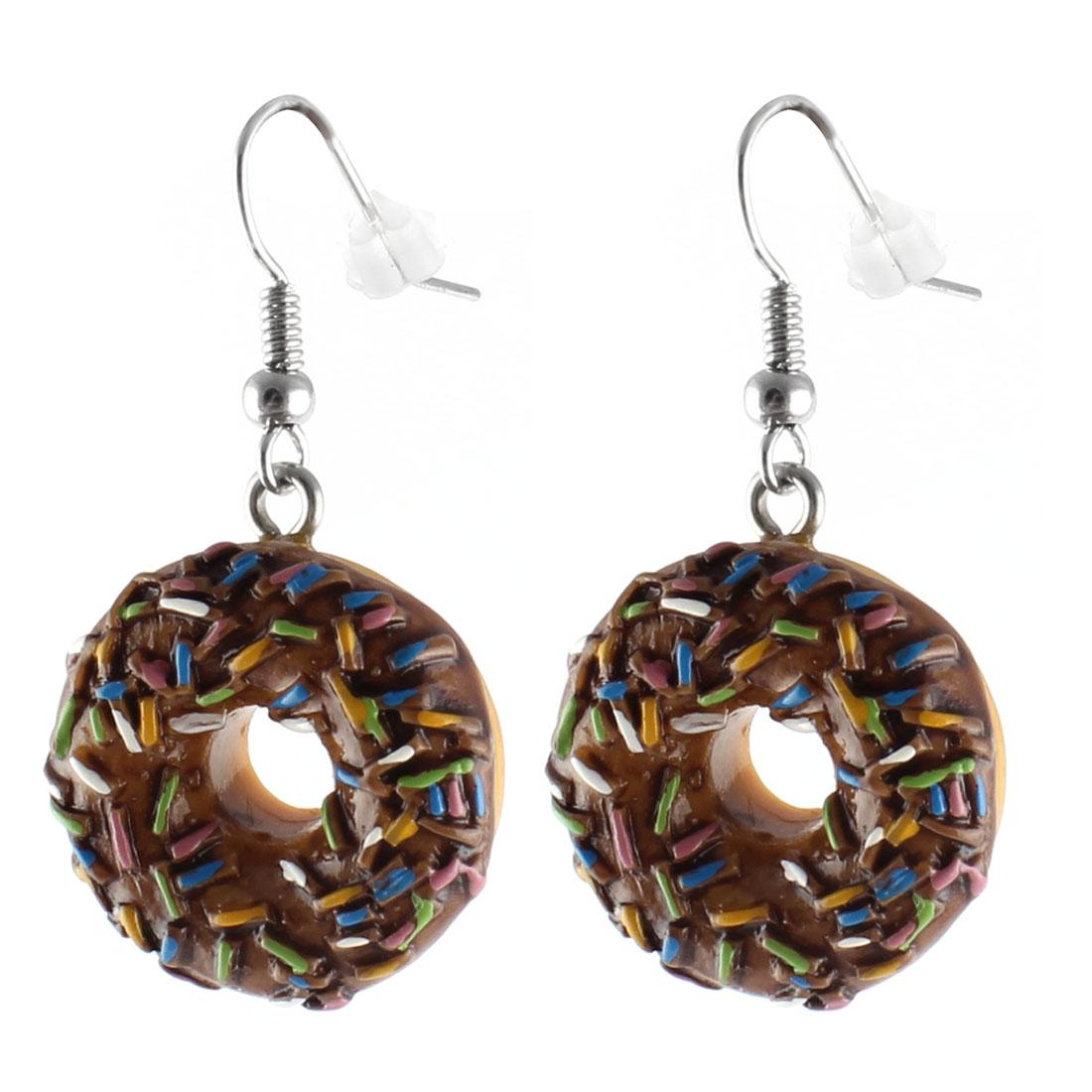 Pair Colorful Plastic Doughnut Pendant Dangling Metal Fish Hook Ear Drops Earrings Eardrops