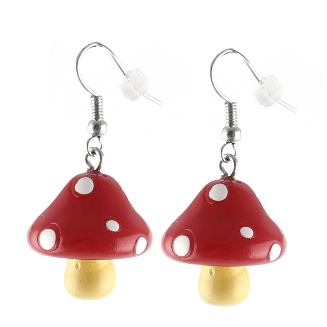 Pair White Dots Red Mushroom Pendant Dangling Fish Hook Ear Drops Earrings Eardrops
