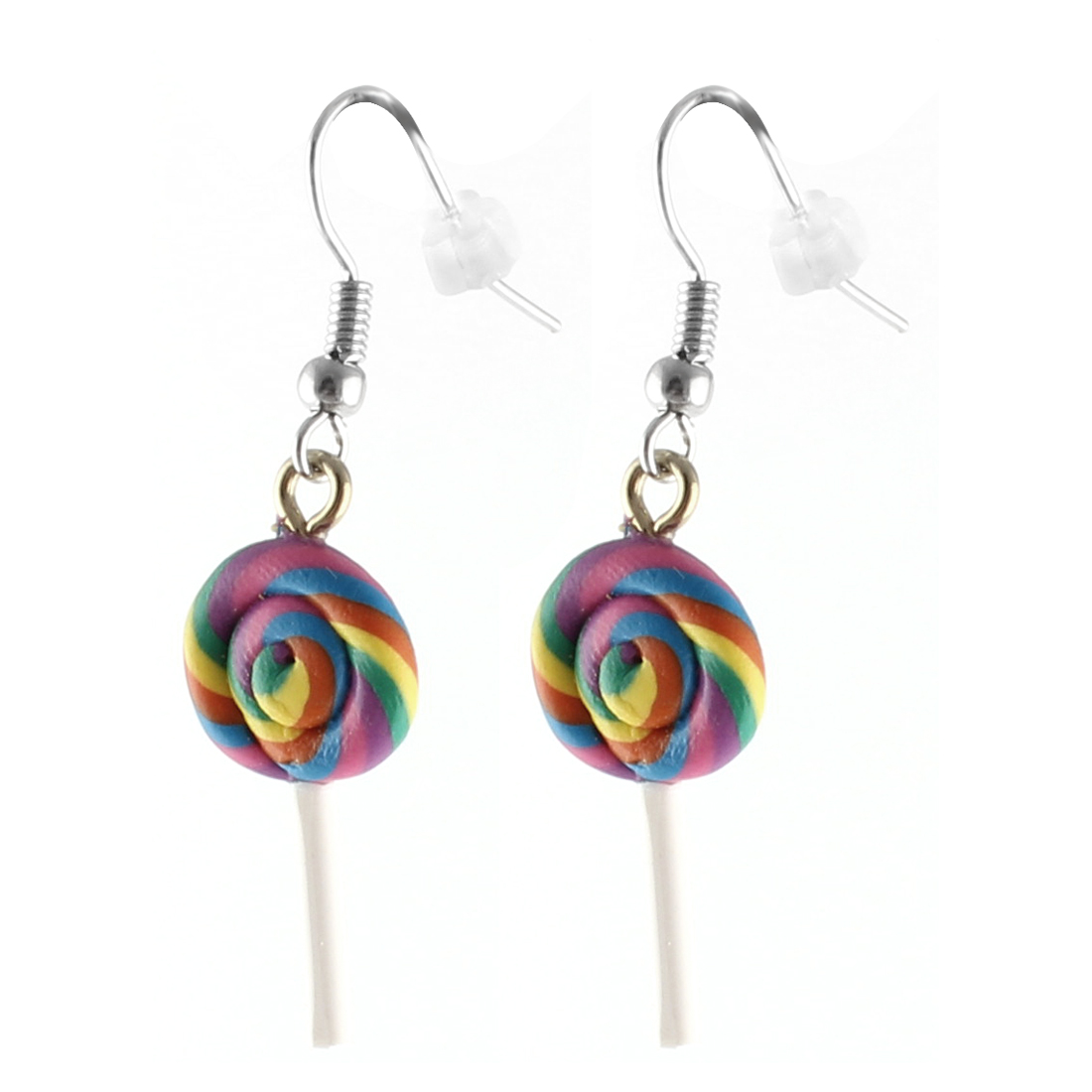 Pair Colorful Plastic Candy Pendant Ear Hook Earrings Dangling Jewelry for Lady
