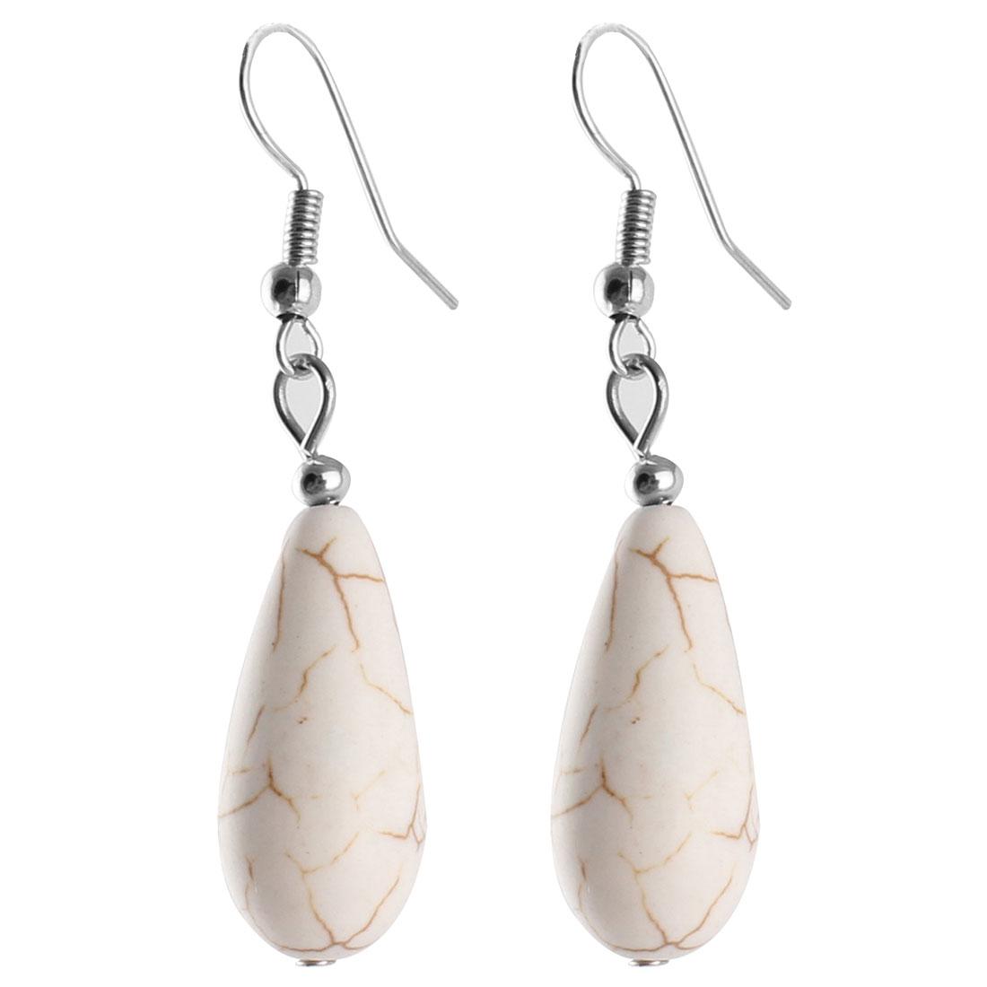 Pair Retro Style White Oval Plastic Bead Pendant Dangling Fish Hook Ear Drops Earrings Eardrops