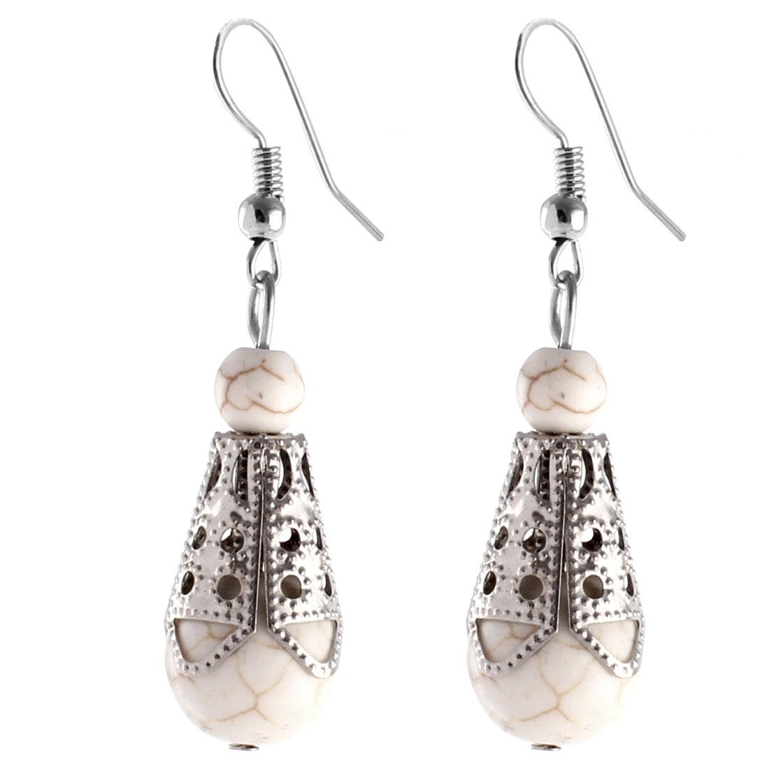 Pair Retro Style White Plastic Bead Pendant Dangling Hook Ear Drops Earrings Eardrops for Lady