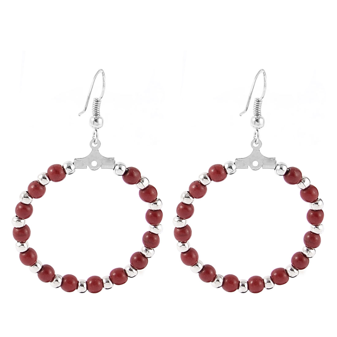 Lady Women Fashion Jewelry Circle Beads Dangle Earrings Pair Silver Tone Red