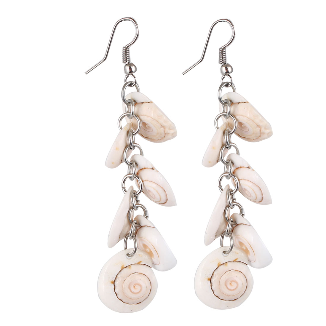 Woman Party Beige Sea Shell Pendant Dangling Fish Hook Ear Drops Earrings Eardrops Pair