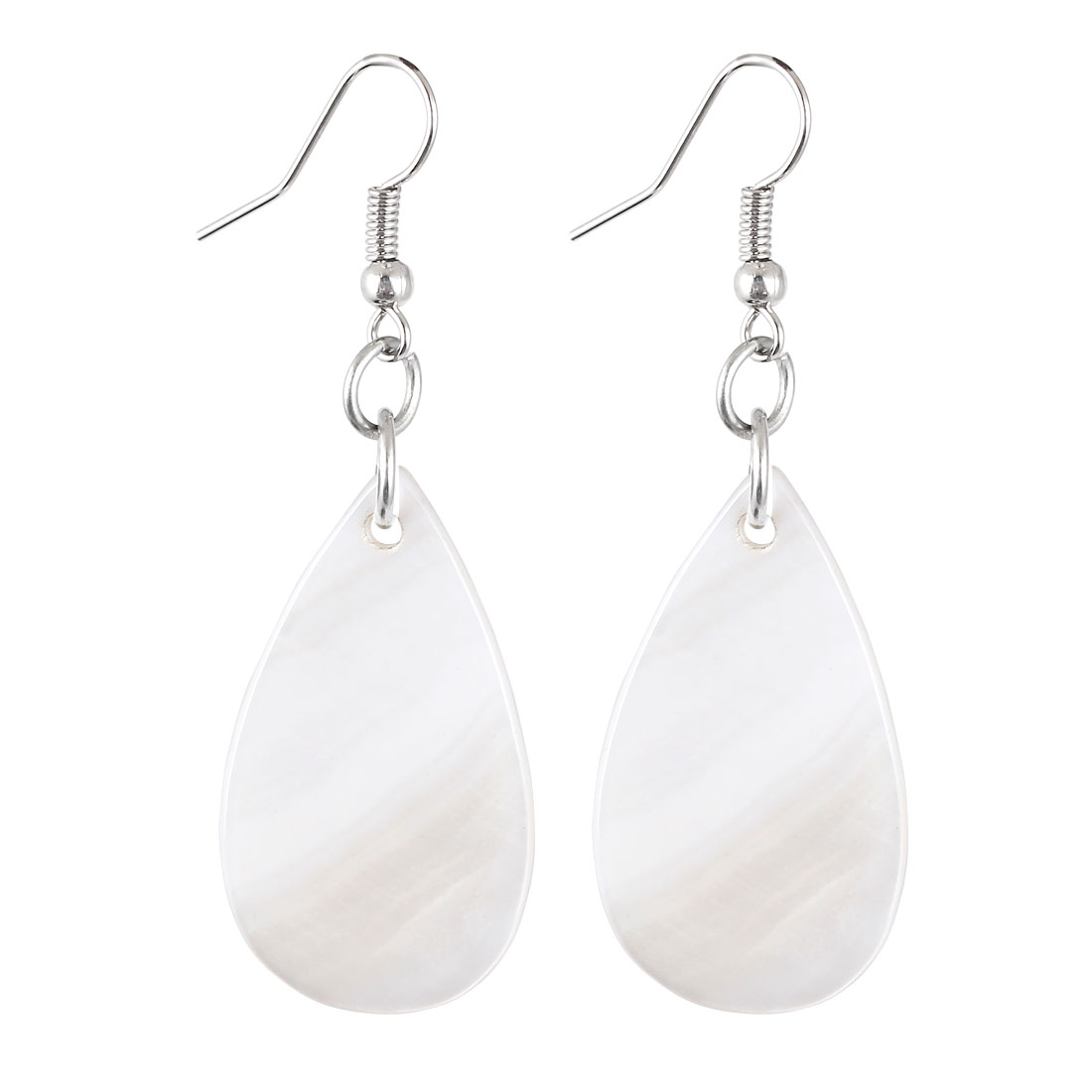 Pair White Plastic Oval Raindrop Pendant Dangling Fish Hook Ear Drops Earrings Eardrops