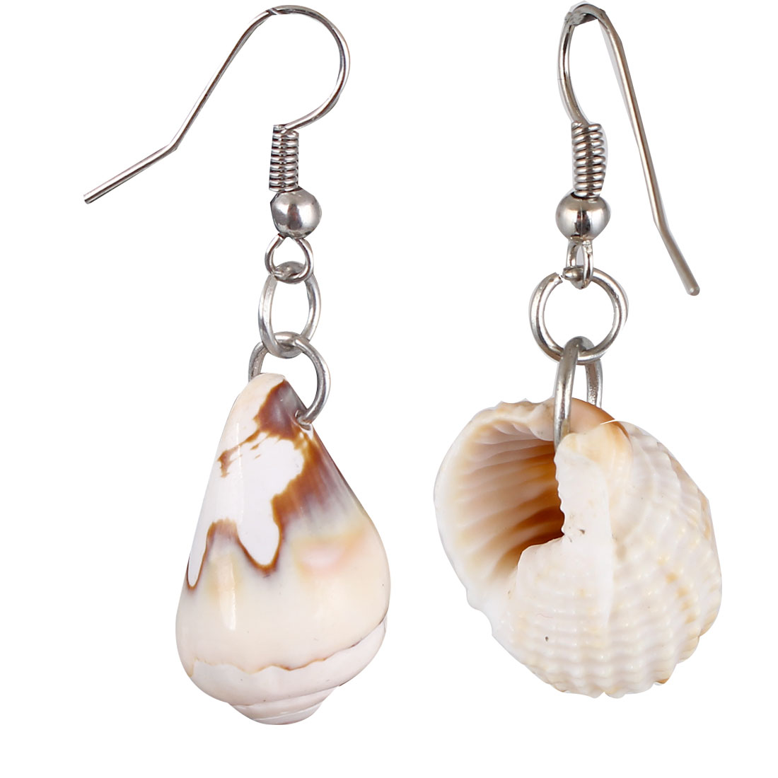 Pair Beige Sea Shell Pendant Dangling Fish Hook Ear Drops Earrings Eardrops