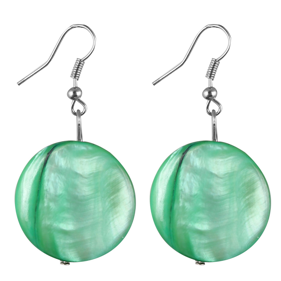Pair Green Round Sea Shell Pendant Dangling Fish Hook Ear Drops Earrings Eardrops