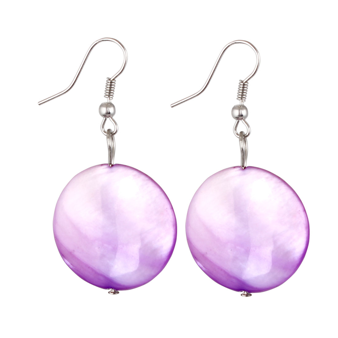 Pair Purple Round Sea Shell Pendant Dangling Fish Hook Ear Drops Earrings Eardrops