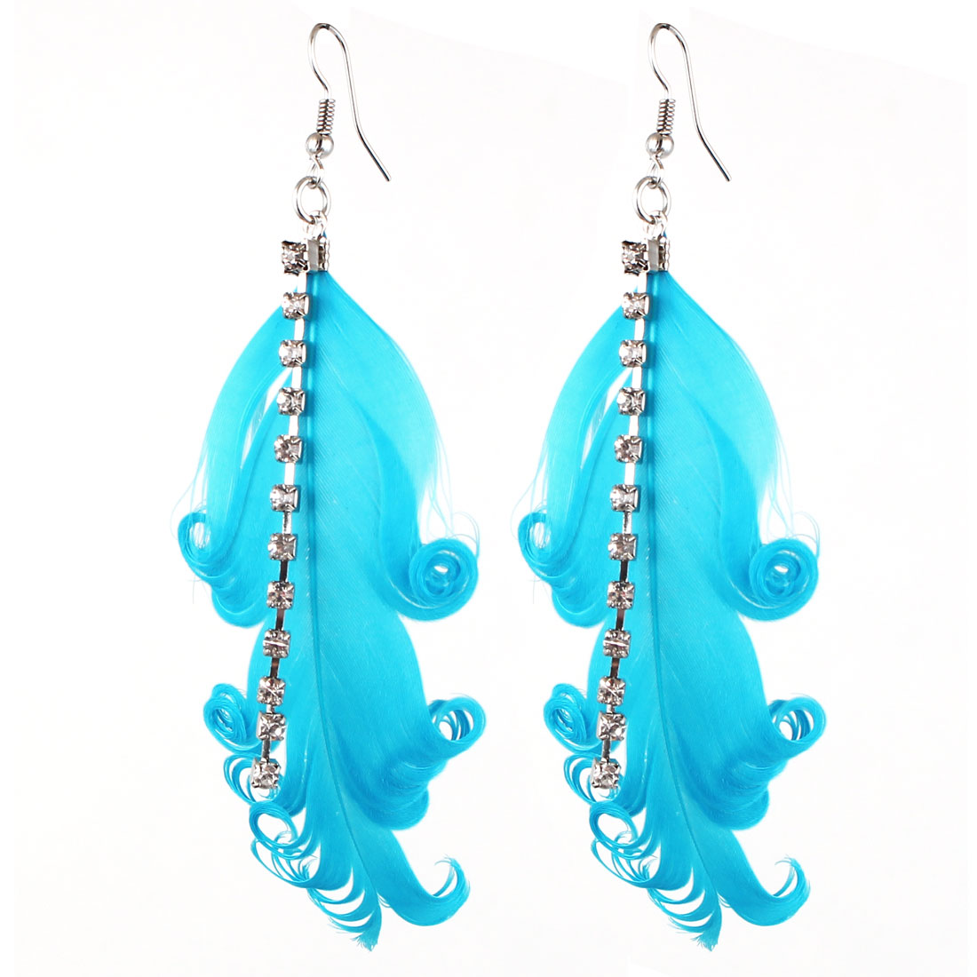 Lady Charm Fashion Jewelry Rhinestone Feather Long Dangle Earrings Pair Blue