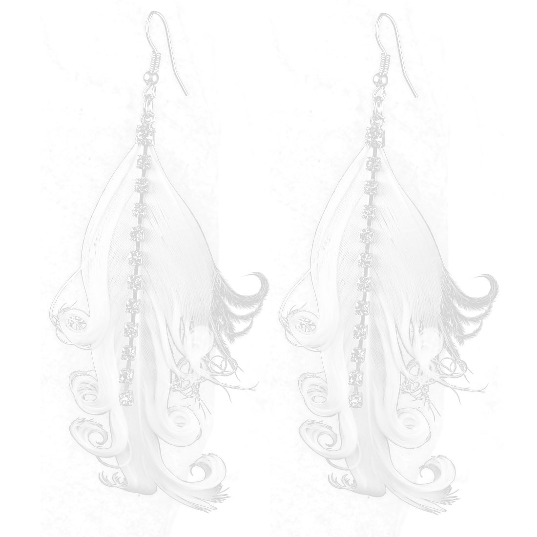 Lady Charm Fashion Jewelry Rhinestone Feather Long Dangle Earrings Pair White