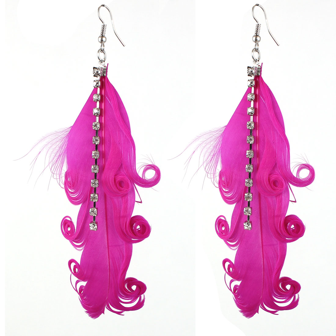 Lady Charm Fashion Jewelry Rhinestone Feather Long Dangle Earrings Pair Fuchsia