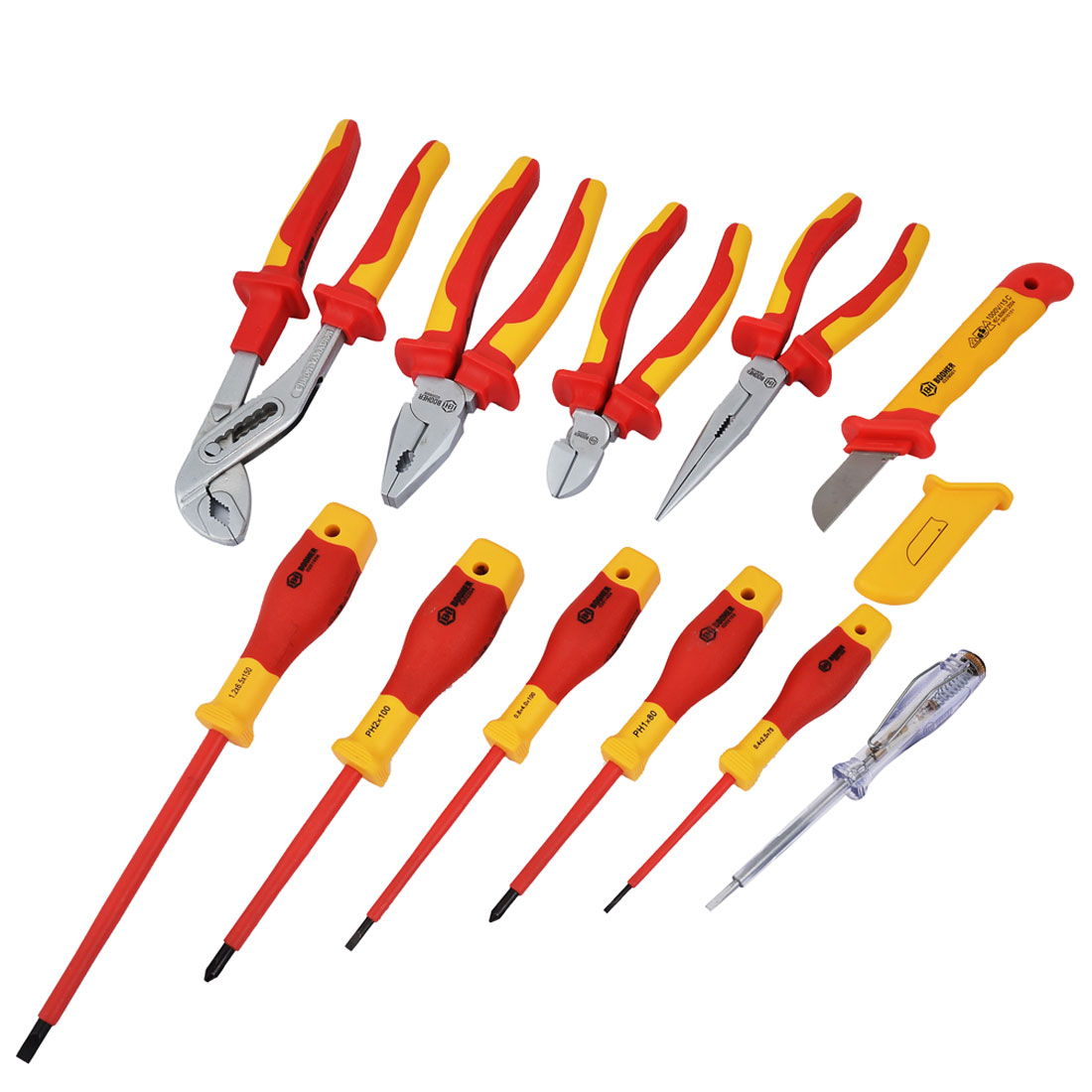 BOOHER Authorized 1000V VDE Insulated Electrician's Screwdriver Pliers Tool Set 11pcs