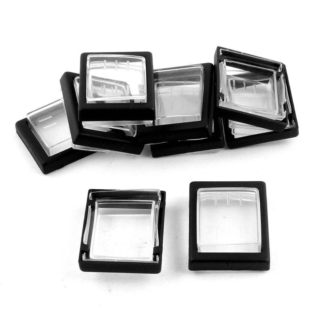 Rectangle Water Resistant Cap Cover Black Clear 9pcs for KCD2 Rocker Switch