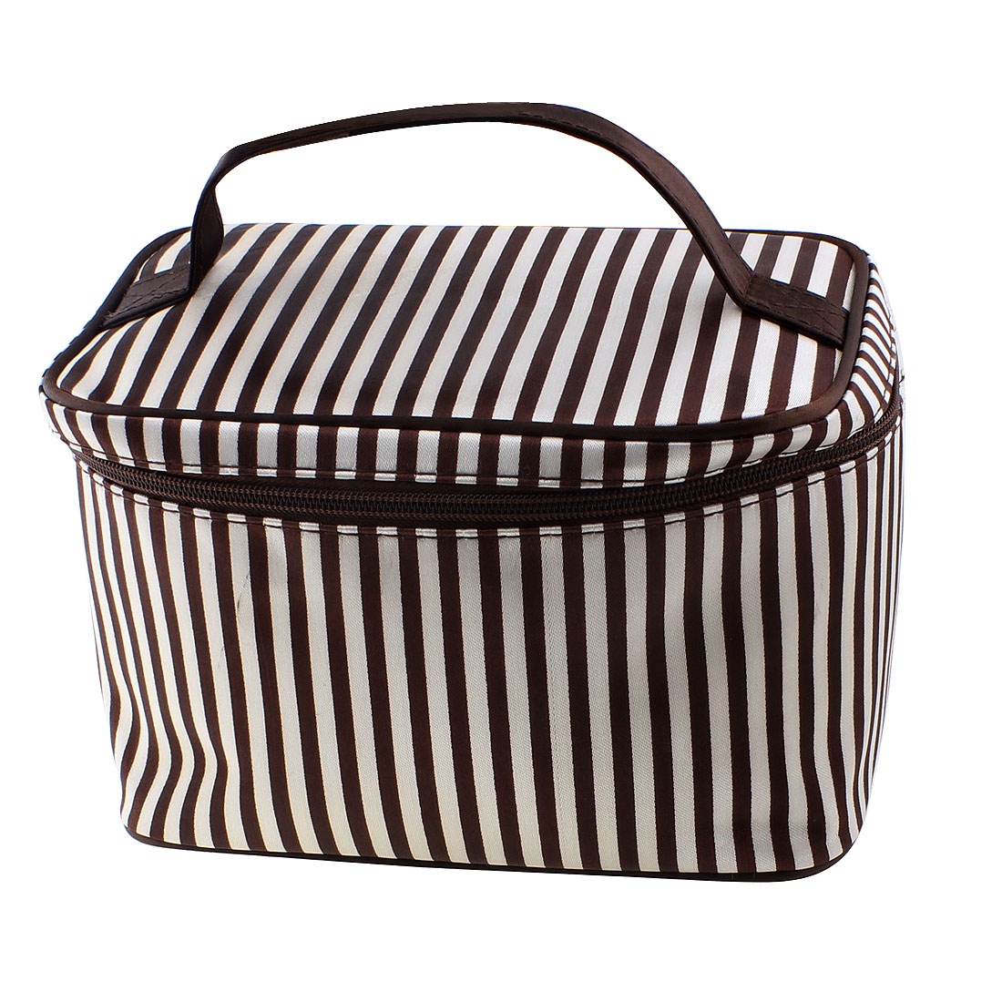 Striped Pattern Zippered Cosmetic Makeup Storage Case Organizer Bag Pouch Brown