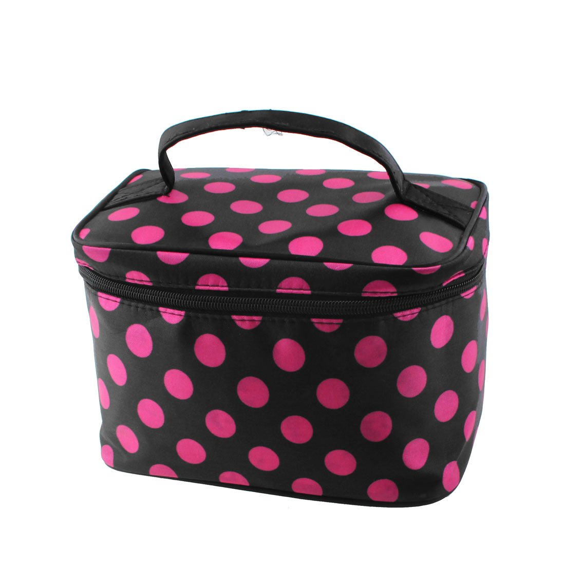 Dotted Pattern Zip Up Cosmetic Makeup Storage Case Organizer Bag Fuchsia Black