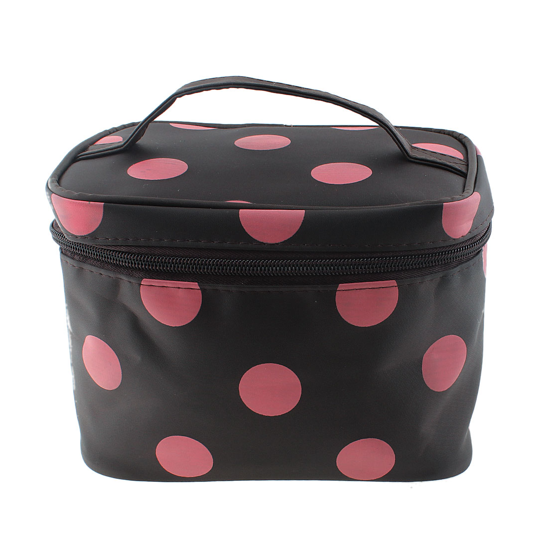 Dots Pattern Zippered Cosmetic Makeup Storage Case Organizer Bag Pouch Brown