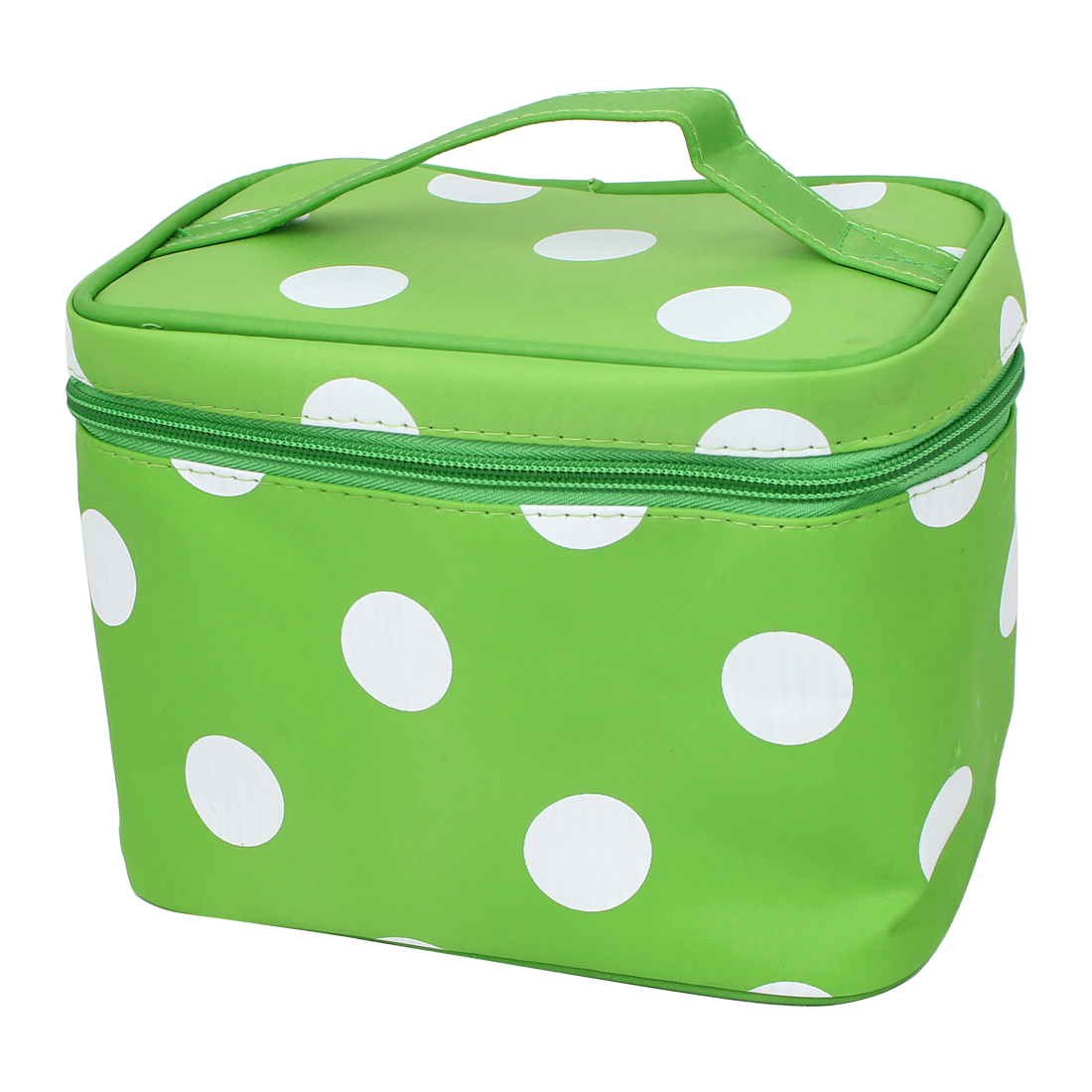 Dots Pattern Zippered Cosmetic Makeup Storage Case Organizer Bag Pouch Green