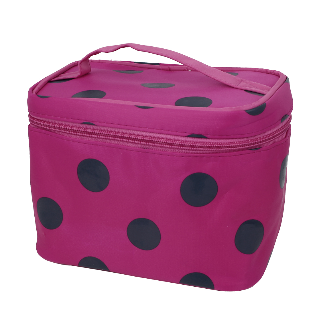 Dots Pattern Zippered Cosmetic Makeup Storage Case Organizer Bag Pouch Fuchsia