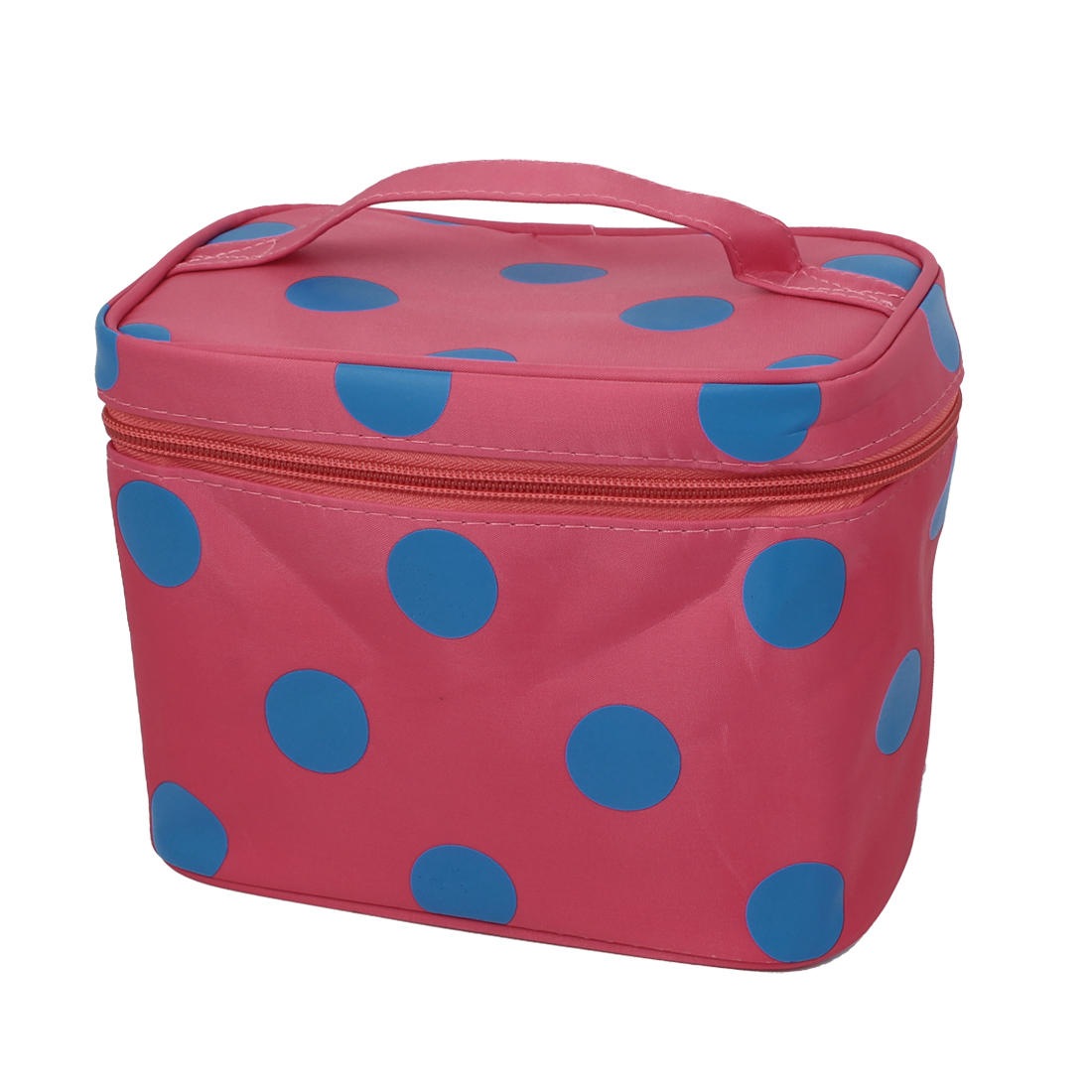 Dots Pattern Zippered Cosmetic Makeup Storage Case Organizer Bag Watermelon Red