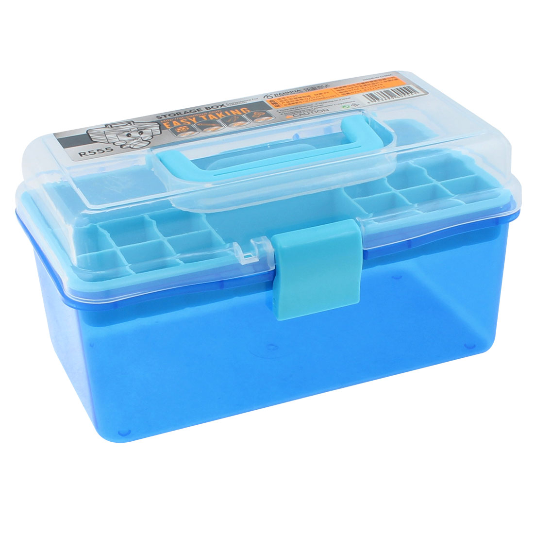 Plastic 2 Layers Nail Art Craft Makeup Fish Hook Screws Storage Box Case Blue
