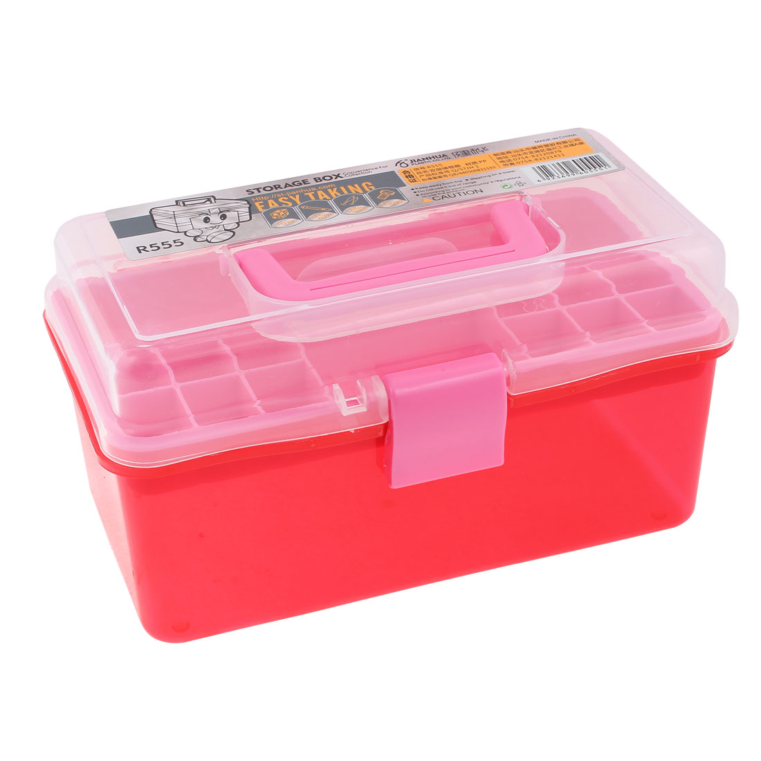 Plastic 2 Layers Nail Art Craft Makeup Fish Hook Screws Storage Box Case Red
