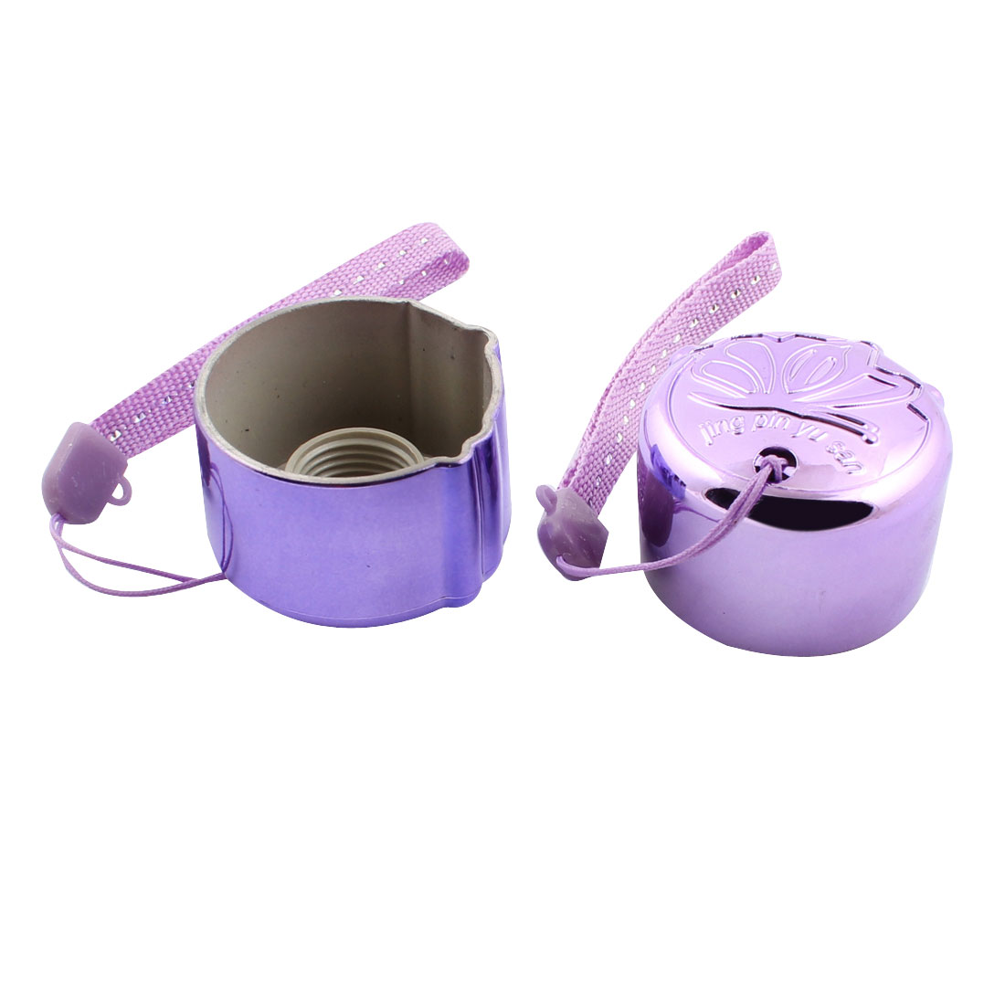 Wrist Strap 15mm Dia Thread Hole Plastic Round Head Umbrella Handle Purple 2pcs