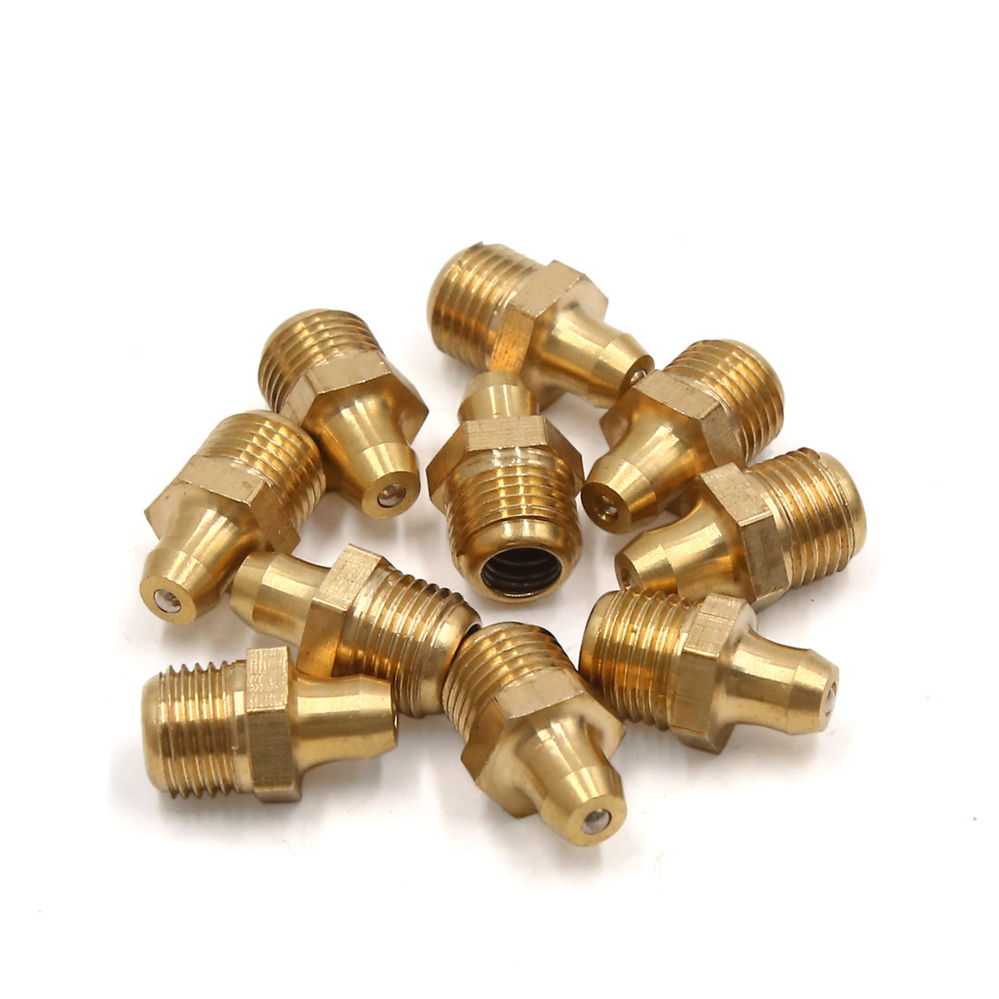 10mm Male Thread Straight Hydraulic Grease Nipple Fitting Gold Tone 10pcs