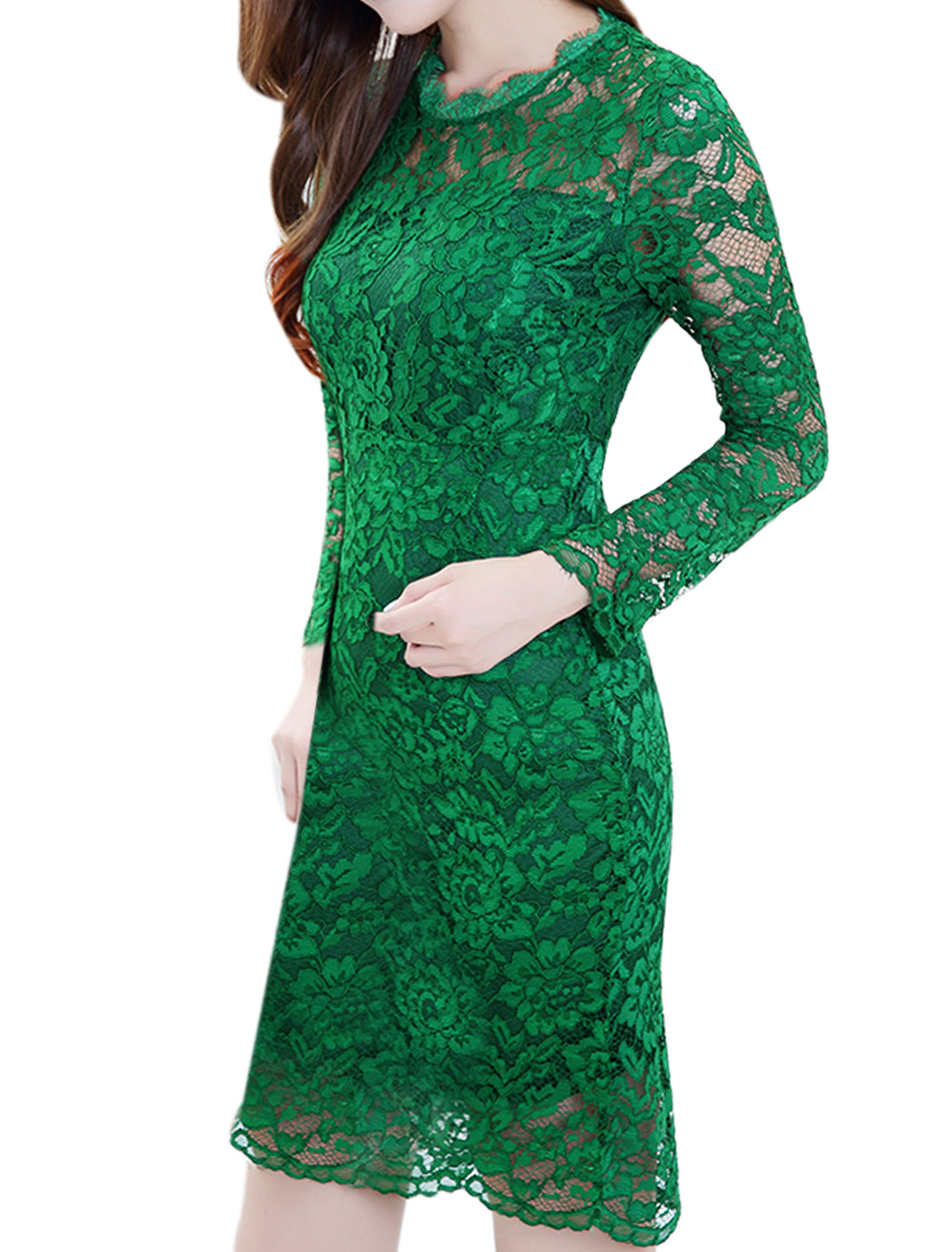 Women Scalloped Neck Semi Sheer Split Back Lace Sheath Dress Green S