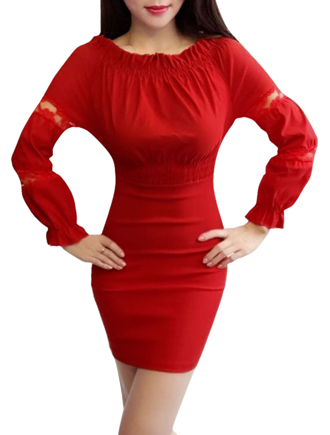Women Off Shoulder Lace Panel Elastic Waist Mini Bodycon Dress Red XS