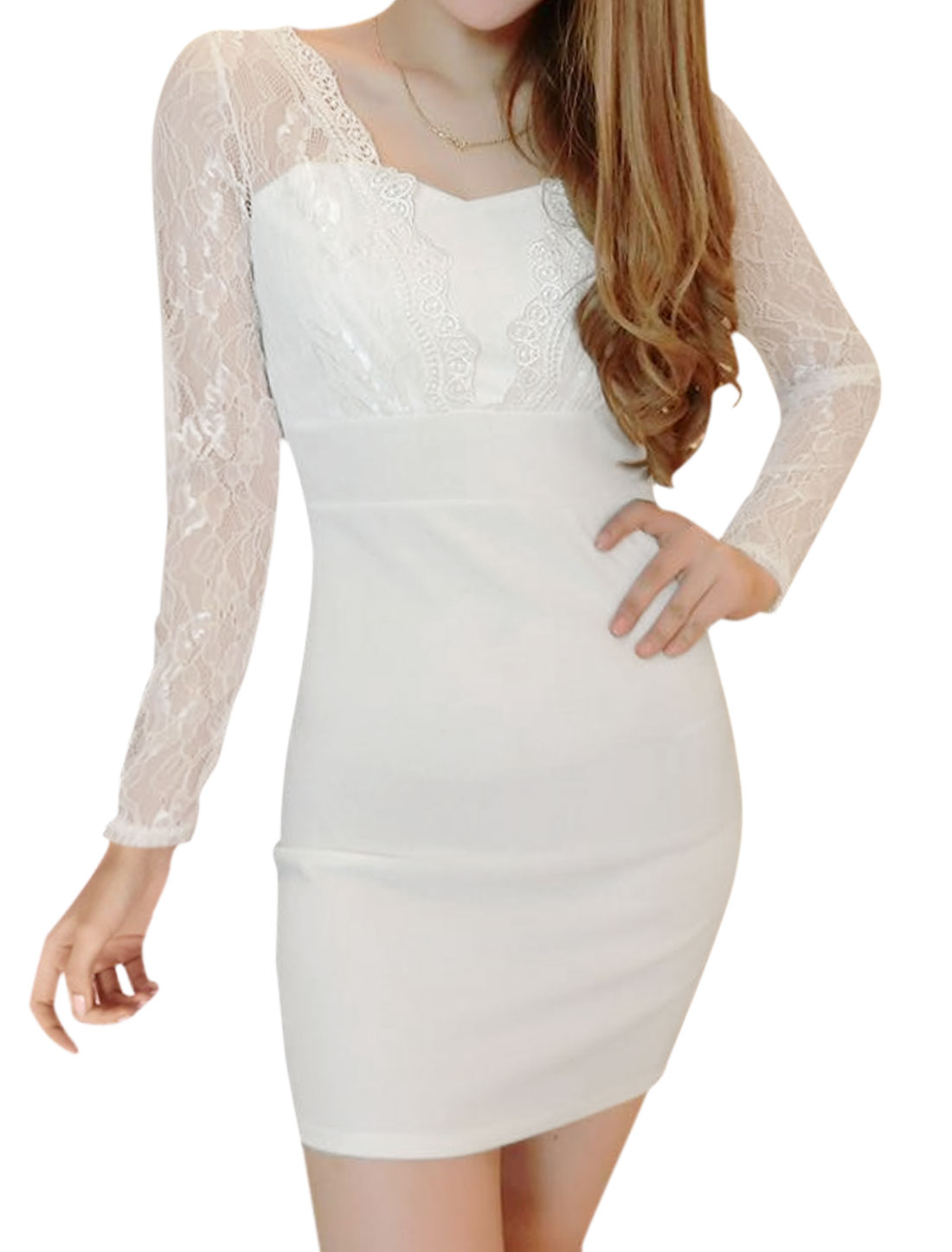 Women Semi Sheer Sleeves Lace Panel Mini Bodycon Dress White XS