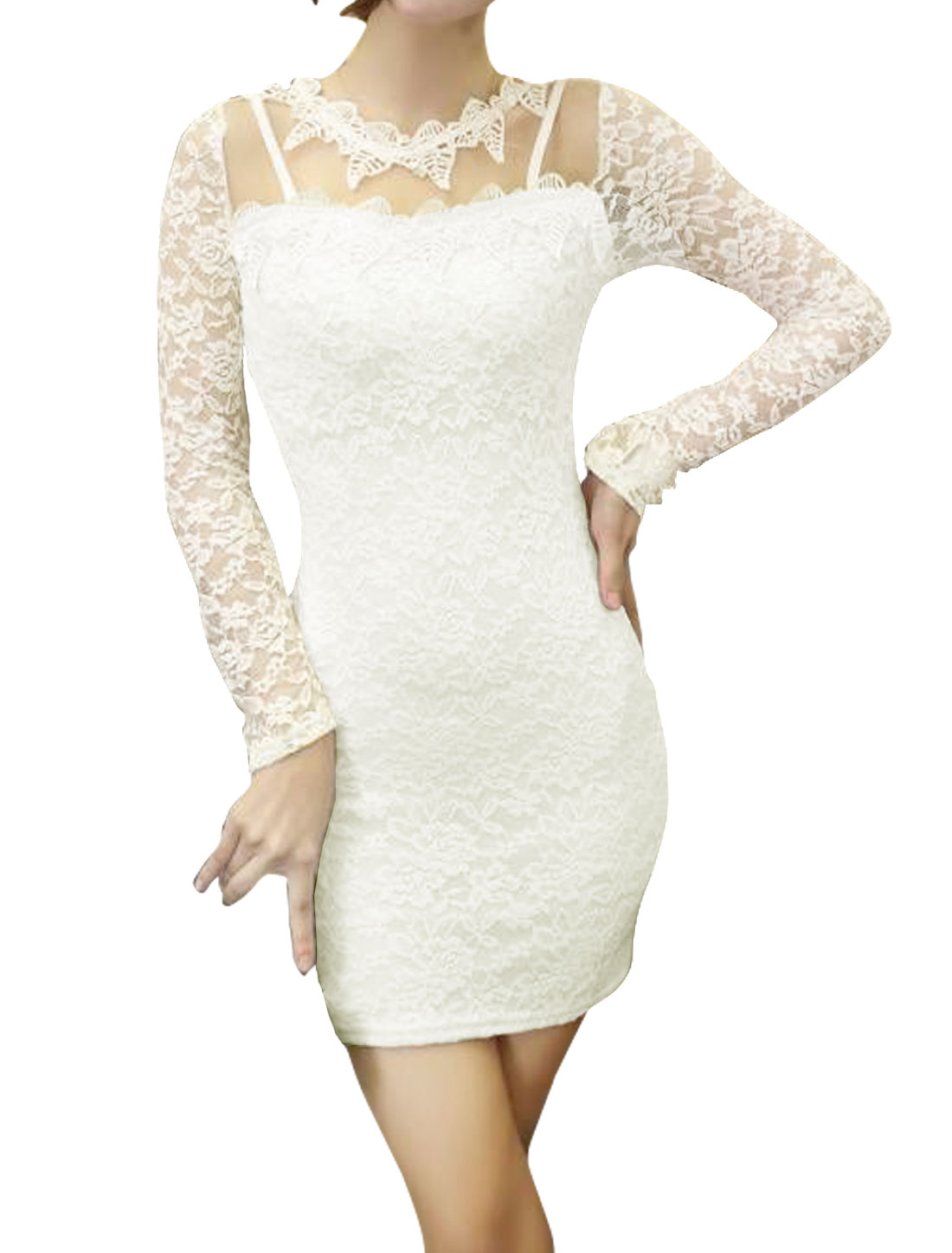 Women Leaves Applique Mesh Panel Lace Mini Bodycon Dress White XS