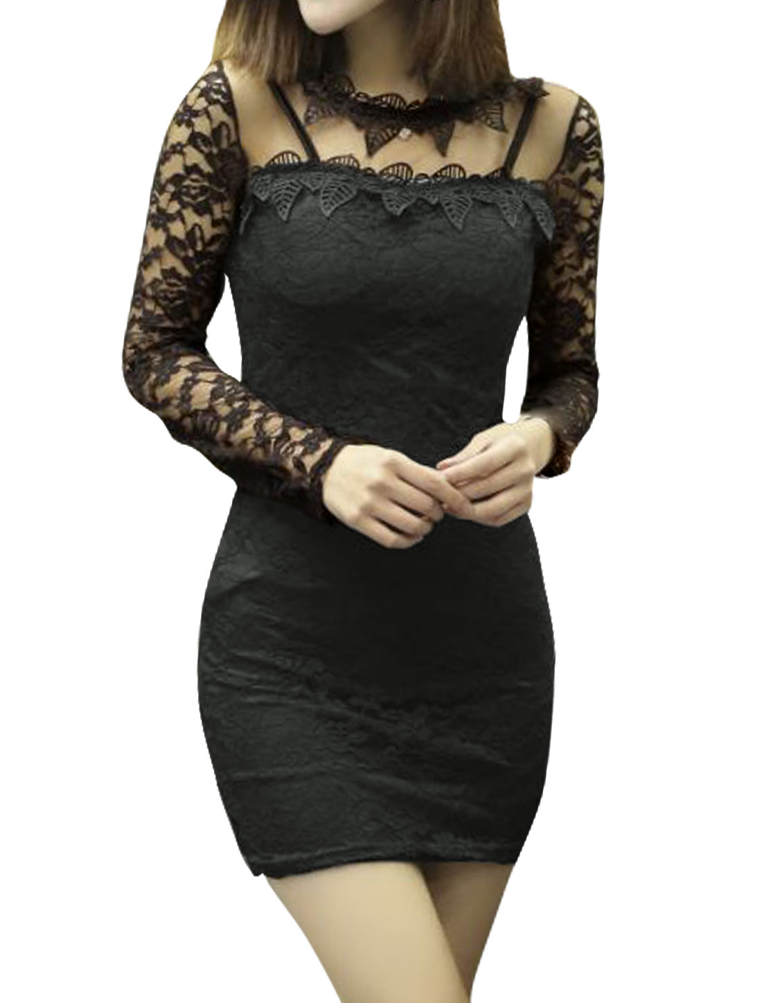 Women Leaves Applique Mesh Panel Lace Mini Bodycon Dress Black XS