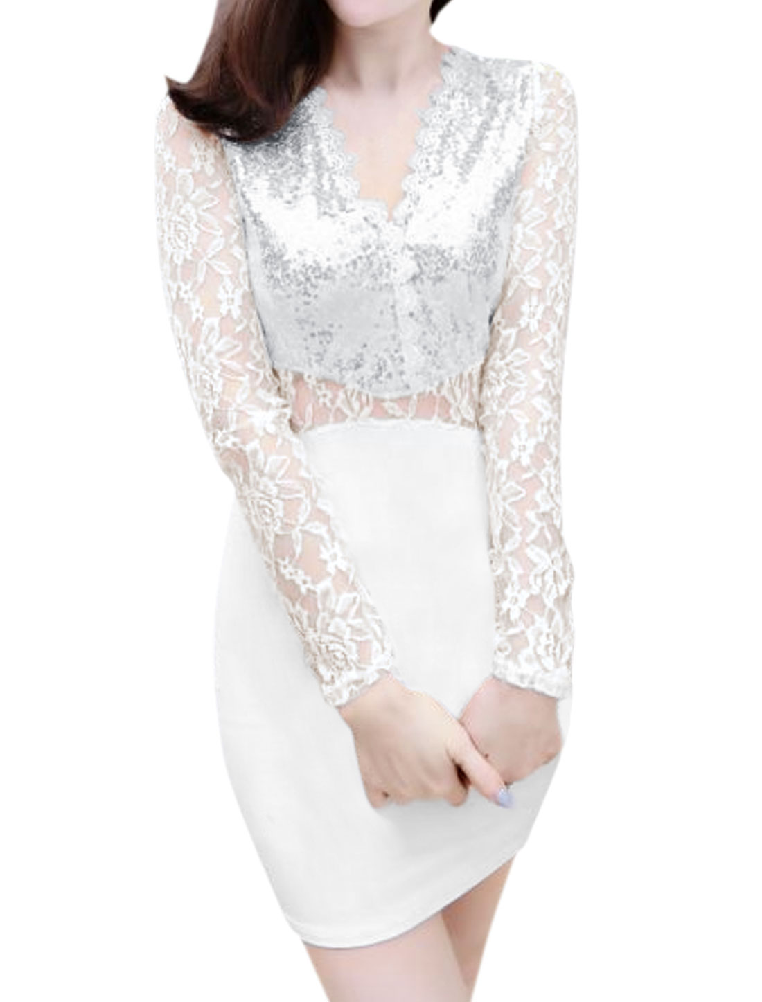 Women Lace Panel Semi Sheer Sequined Mini Bodycon Dress White XS